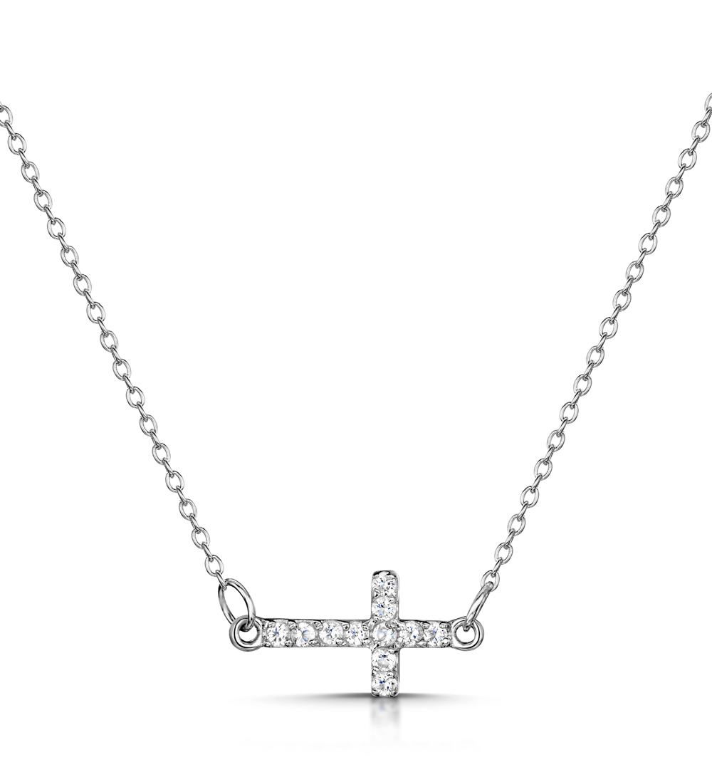 TESORO COLLECTION WHITE TOPAZ SIDEWAYS CROSS NECKLACE IN 925 SILVER