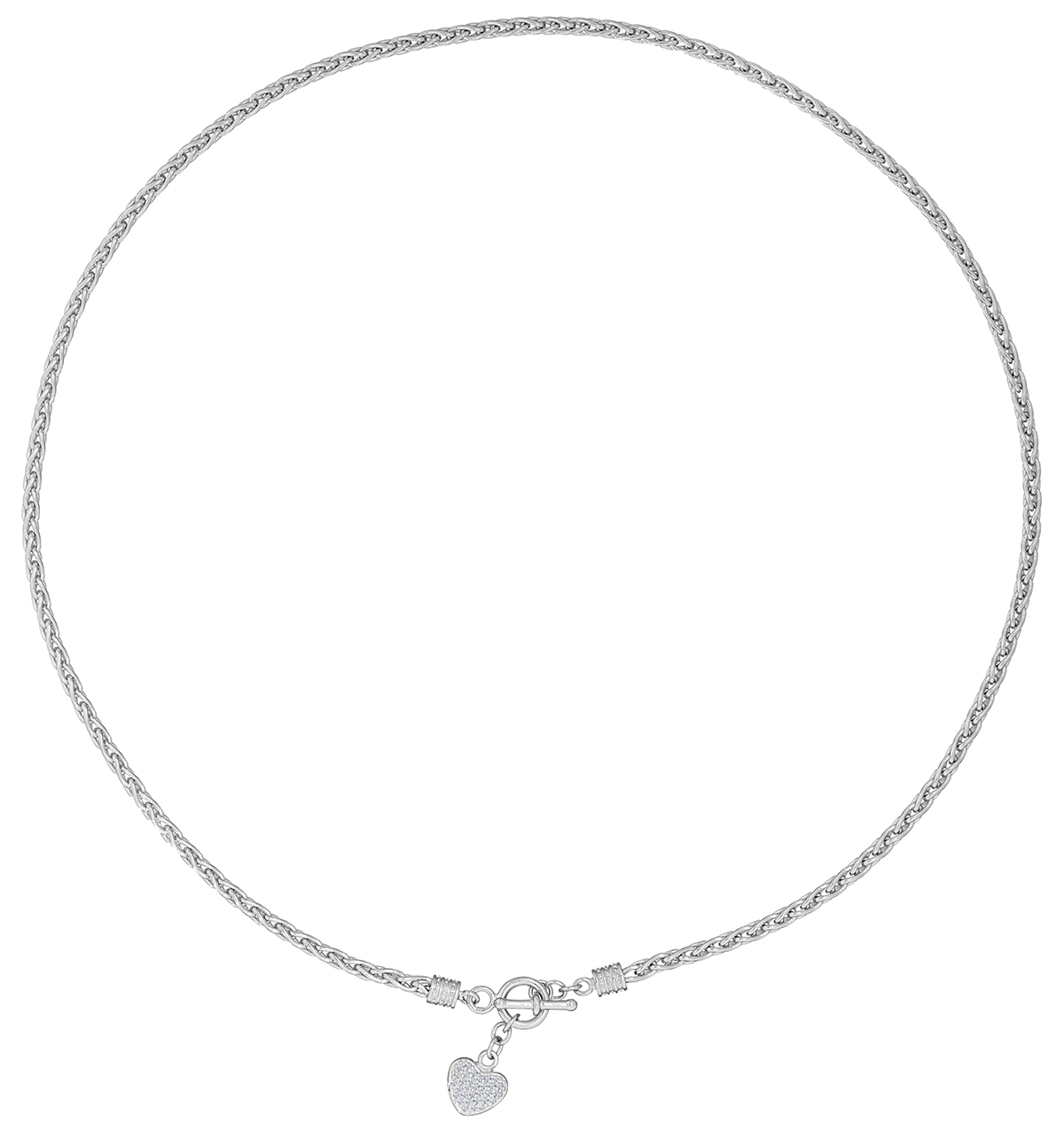 SILVER AND DIAMOND HEART BYZANTINE NECKLACE - TESORO COLLECTION