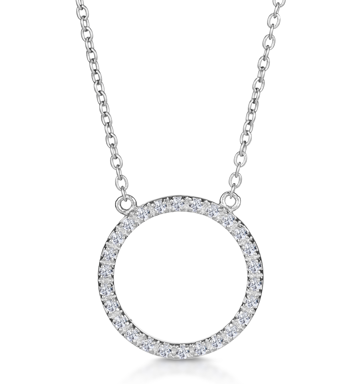 SILVER CIRCLE OF LIFE NECKLACE WITH WHITE TOPAZ - TESORO COLLECTION