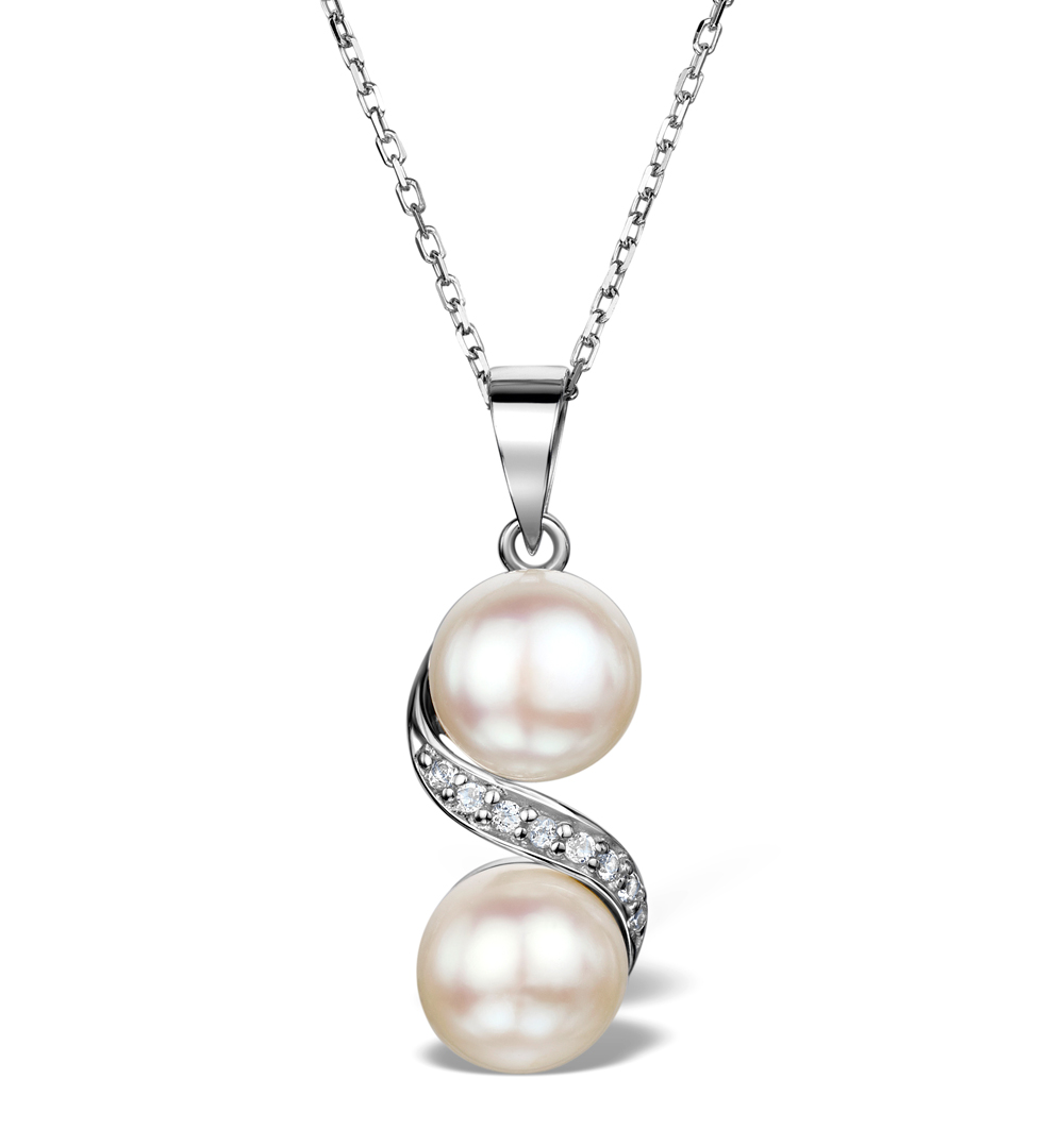 PEARL AND WHITE TOPAZ TWIST NECKLACE IN STERLING SILVER - UR3221