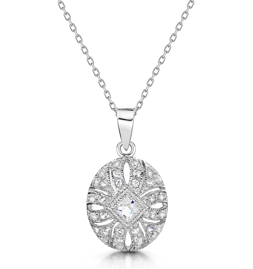 TESORO COLLECTION VINTAGE WHITE TOPAZ NECKLACE IN 925 SILVER