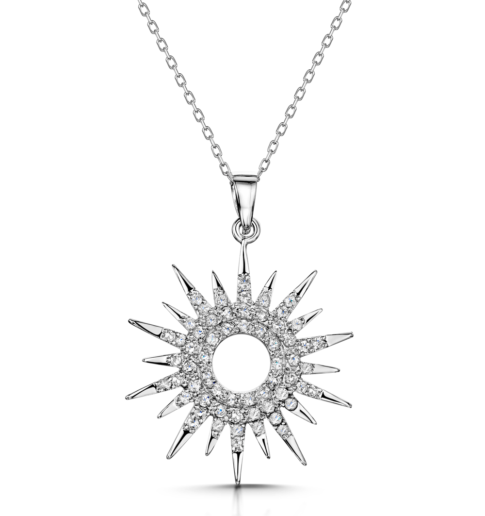 TESORO COLLECTION WHITE TOPAZ STARRY SUN NECKLACE IN 925 SILVER