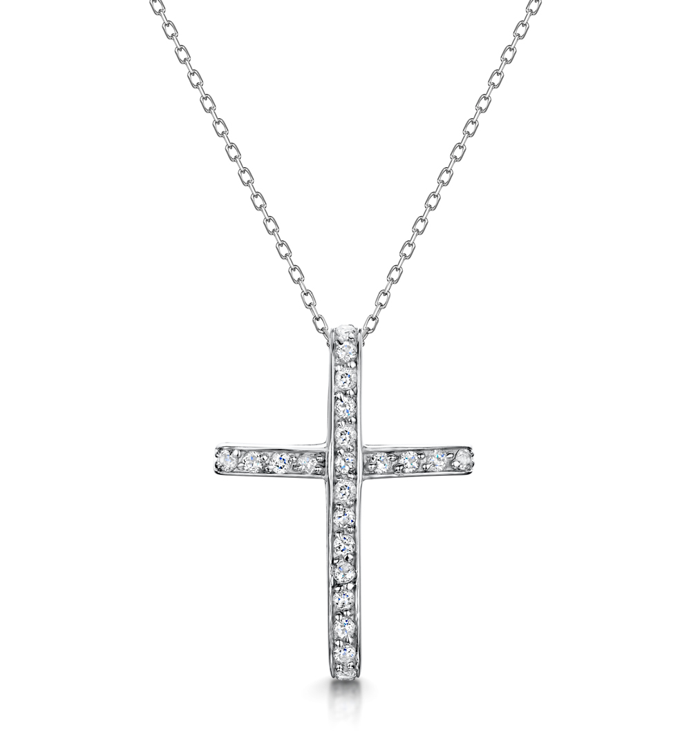 TESORO COLLECTION WHITE TOPAZ PAVE CROSS NECKLACE IN 925 SILVER
