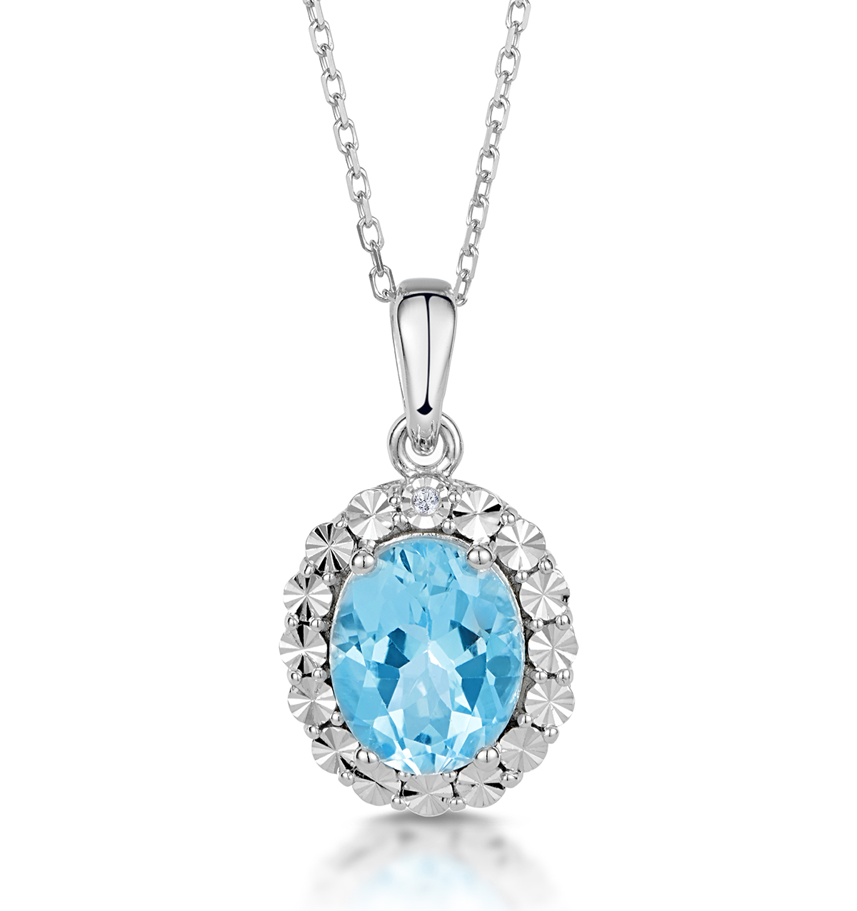 DIAMOND AND SILVER OVAL NECKLACE 2.40CT BLUE TOPAZ - TESORO COLLECTION
