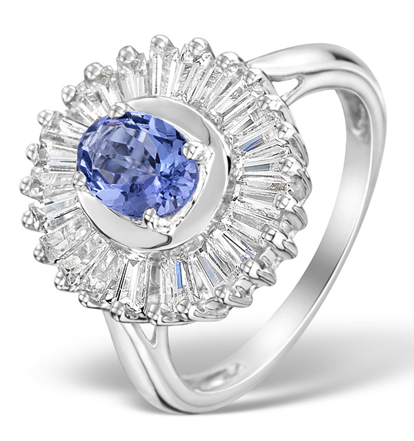 BAGUETTE WHITE TOPAZ AND 2.19 CARATS  AA TANZANITE SILVER RING
