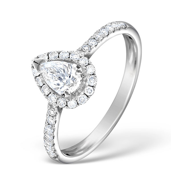 ... Halo Engagement Ring Ella 0.81ct Pear Shape Diamond 18K White Gold ...