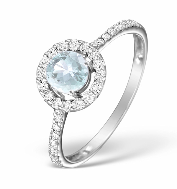 Aqua Marine 0.50CT And Diamond 18K White Gold Ring
