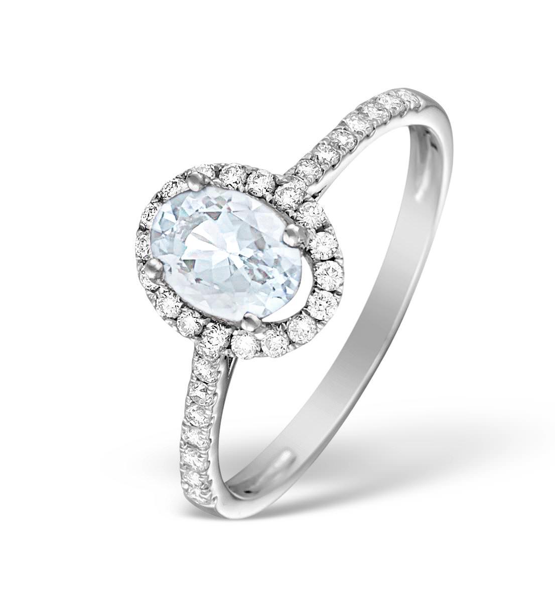 AQUAMARINE 0.70CT AND DIAMOND 18K WHITE GOLD RING