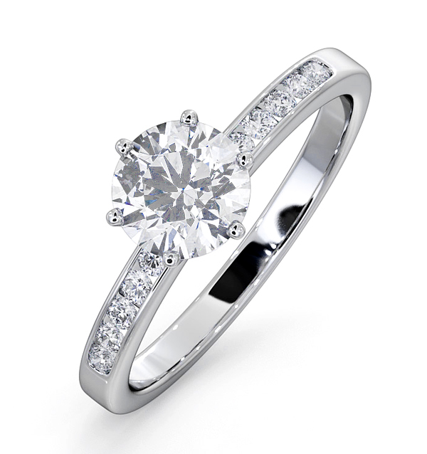 Charlotte GIA Diamond Engagement Side Stone Ring 18KW Gold 1.10CT SI2