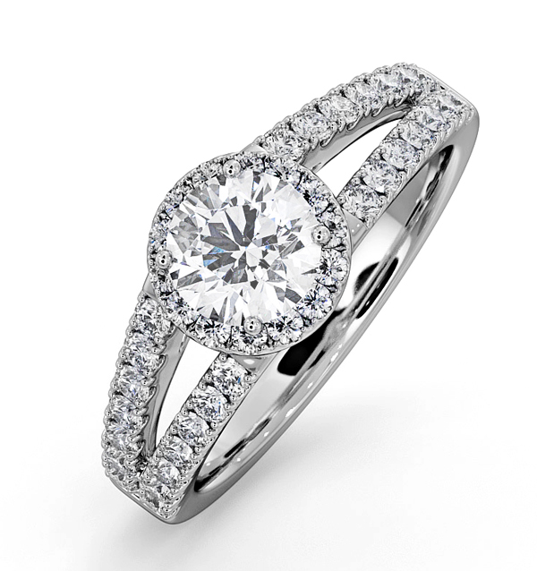 CARLY GIA DIAMOND ENGAGEMENT SIDE STONE RING 18KW GOLD 1.23CT G/SI2