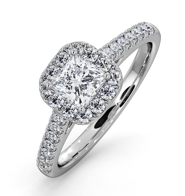ROXY GIA DIAMOND ENGAGEMENT SIDE STONE RING IN 18KW GOLD 0.98CT G/SI2