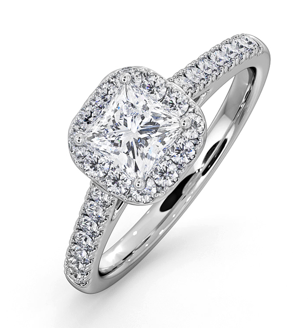 ROXY GIA DIAMOND ENGAGEMENT SIDE STONE RING IN 18KW GOLD 1.22CT G/SI2