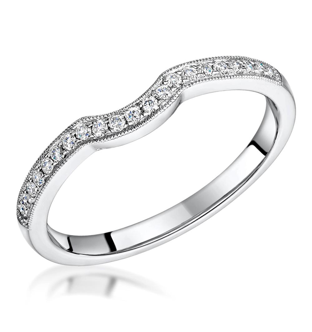 LEILA MATCHING DIAMOND MILGRAIN WEDDING BAND 0.35CT IN PLATINUM