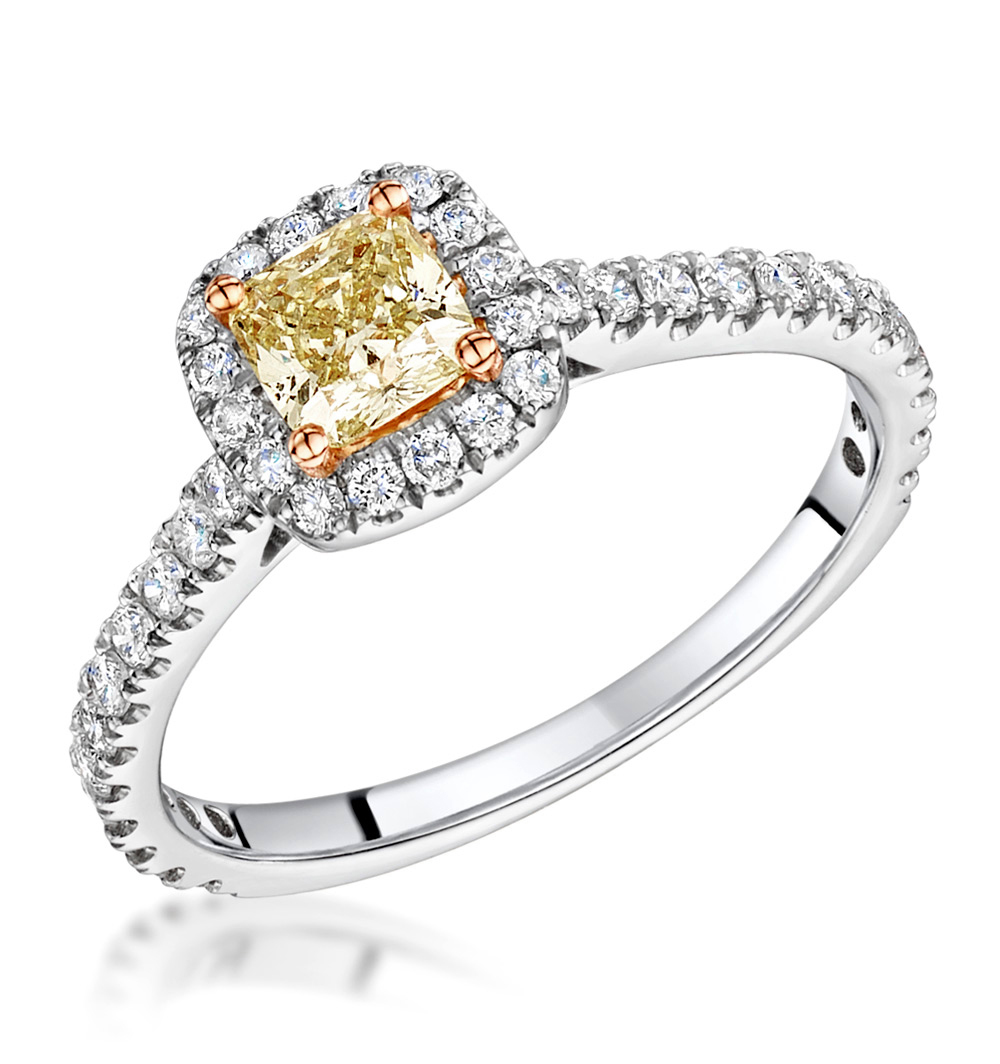 Yellow Diamond Platinum Engagement Rings