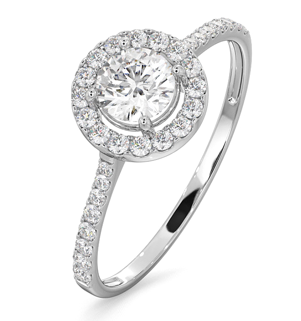 Halo Engagement Ring Ella 0.86ct G/VS1 Diamonds 18K White Gold UT39