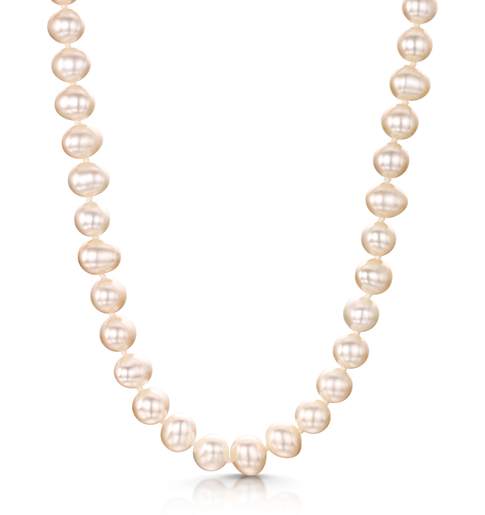 EXTRA LONG 6.5MM FRESHWATER PEARL AMELIE NECKLACE 925 SILVER CLASP