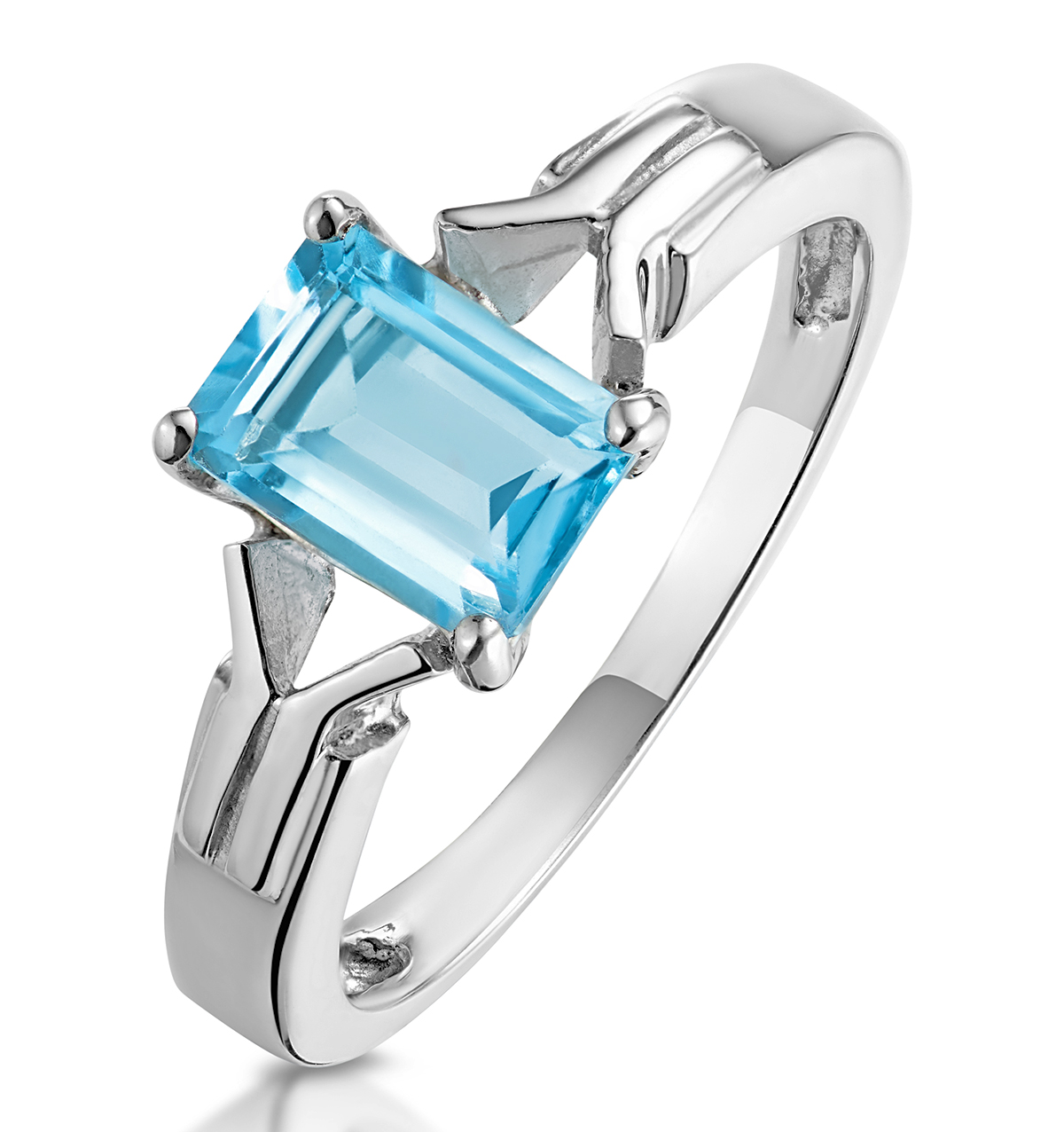 SKY BLUE TOPAZ 1.25CT 9K WHITE GOLD RING