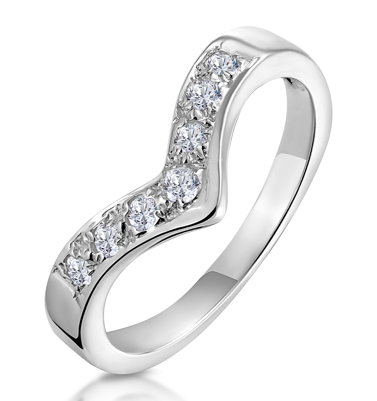 DIAMOND 0.11CT 9K WHITE GOLD WISHBONE RING