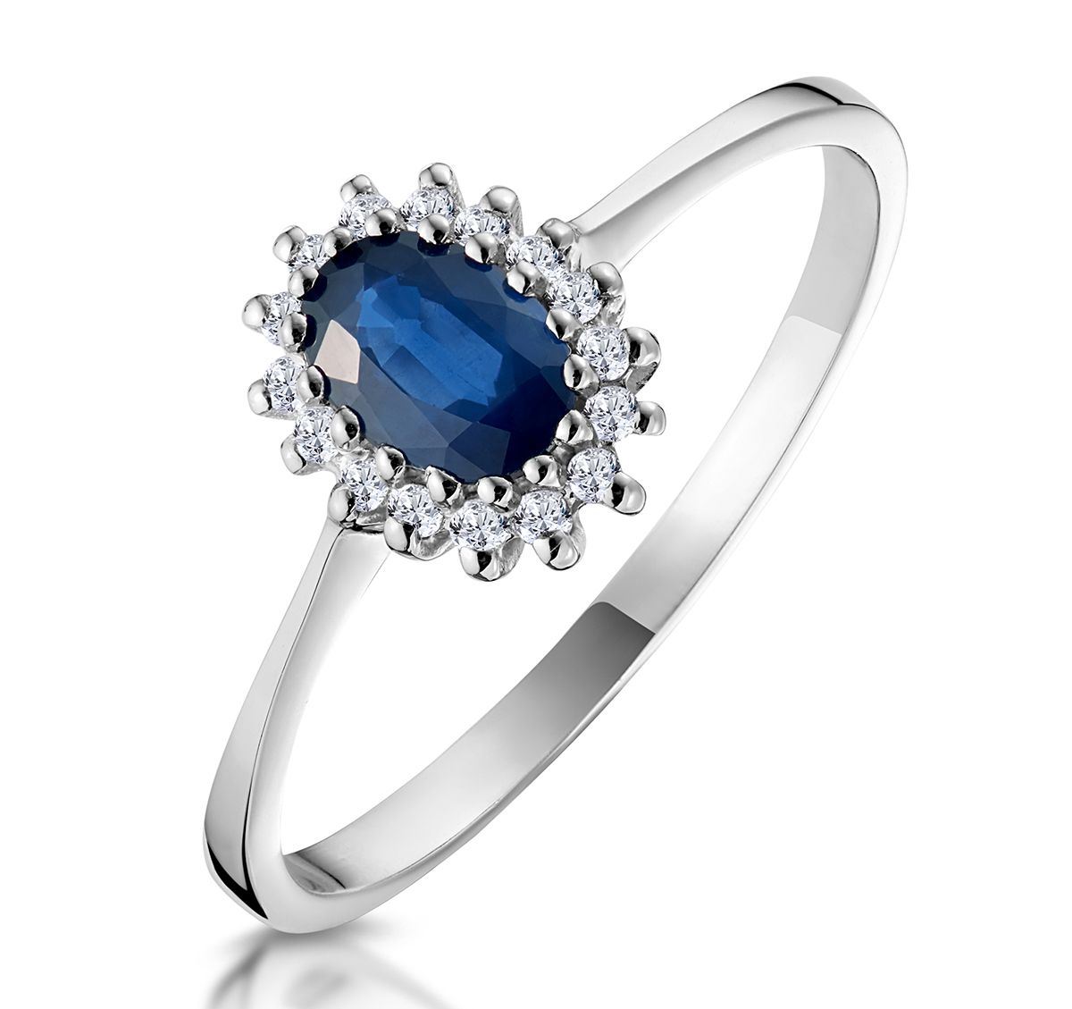 Sapphire 6 x 4mm And Diamond 9K White Gold Ring