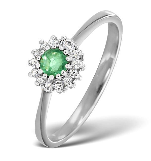 EMERALD 3.5 X 3.5MM AND DIAMOND 9K WHITE GOLD RING