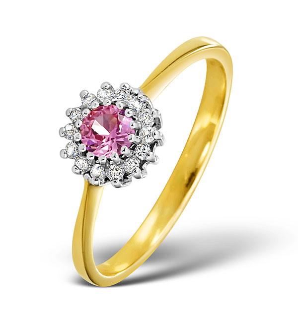 18K GOLD DIAMOND AND PINK SAPPHIRE RING 0.07CT