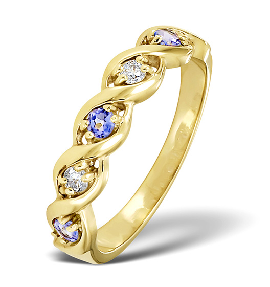 TANZANITE 2.25 X 2.25MM AND DIAMOND 9K GOLD RING
