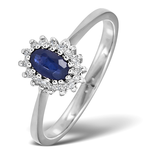 Sapphire 5 X 3mm And Diamond 9k White Gold Ring Item A4432