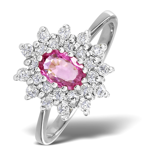 9K WHITE GOLD DIAMOND AND PINK SAPPHIRE RING 0.36CT
