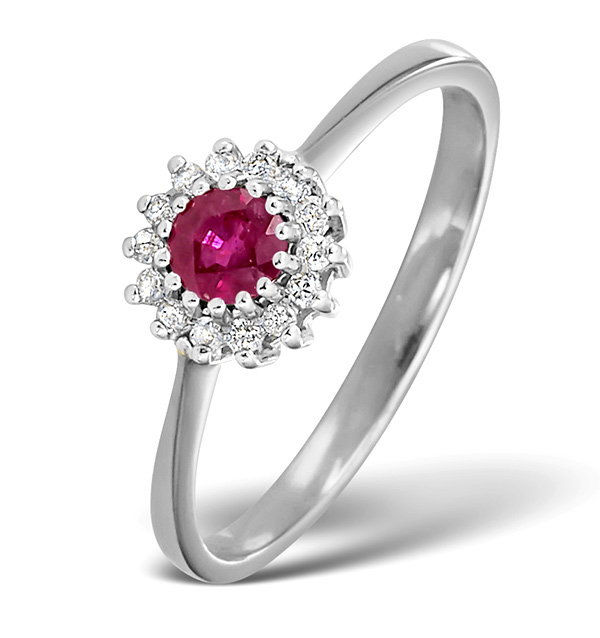 RUBY 3.5 X 3.5MM AND DIAMOND 9K WHITE GOLD RING
