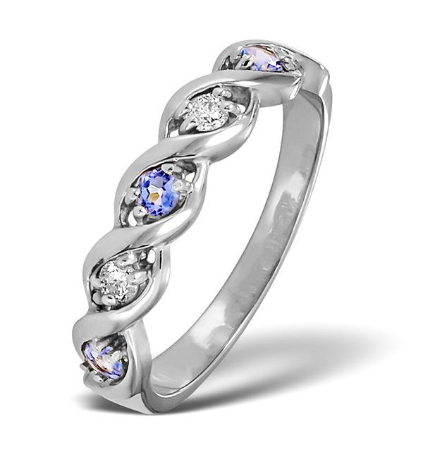 TANZANITE 2.25 X 2.25MM AND DIAMOND 9K WHITE GOLD RING