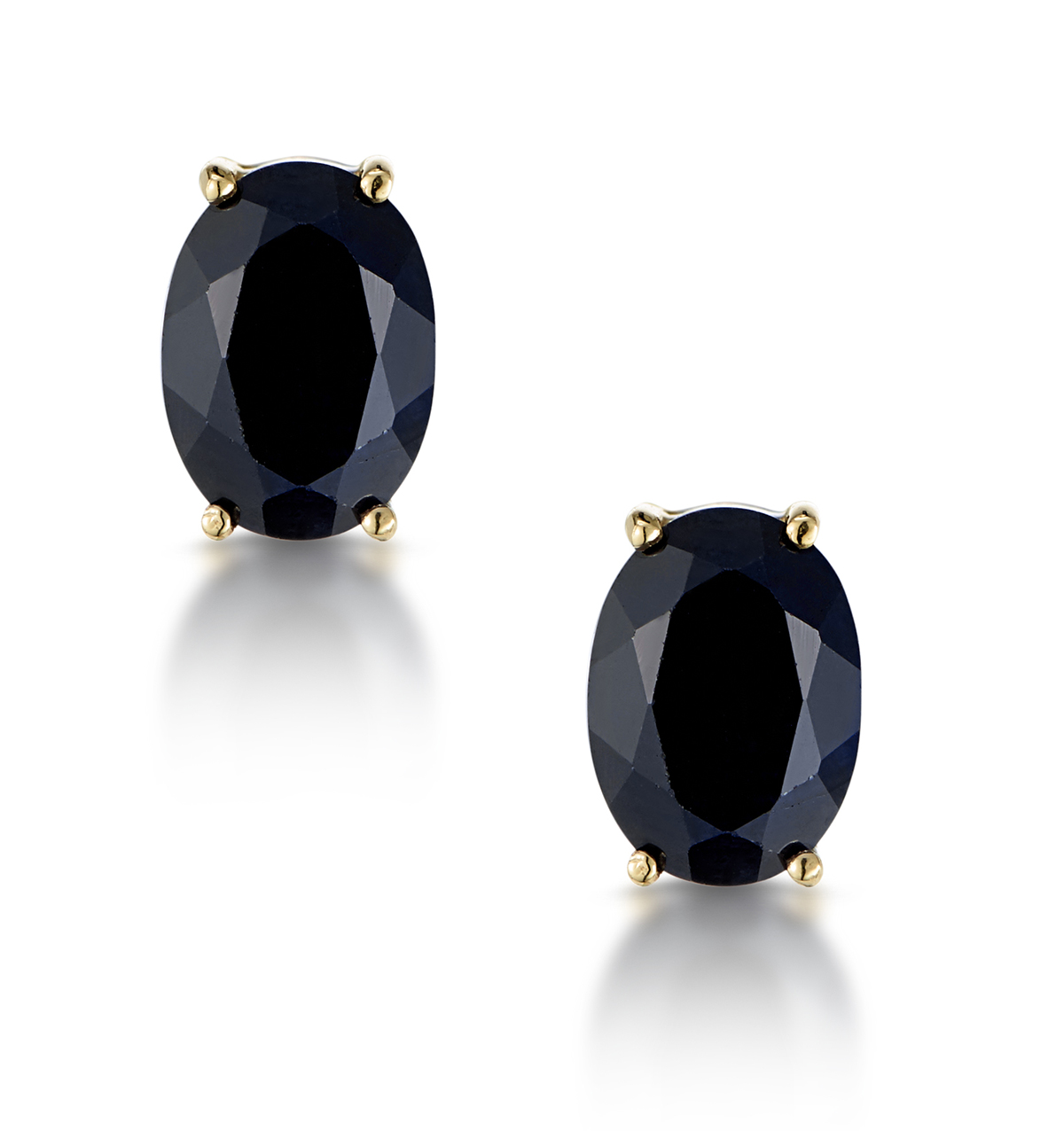 Sapphire 7mm x 5mm 9K Yellow Gold Earrings