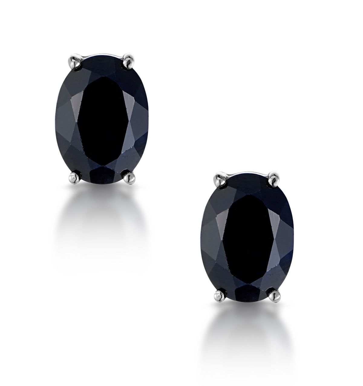 Sapphire 7mm x 5mm and 9K White Gold Earrings