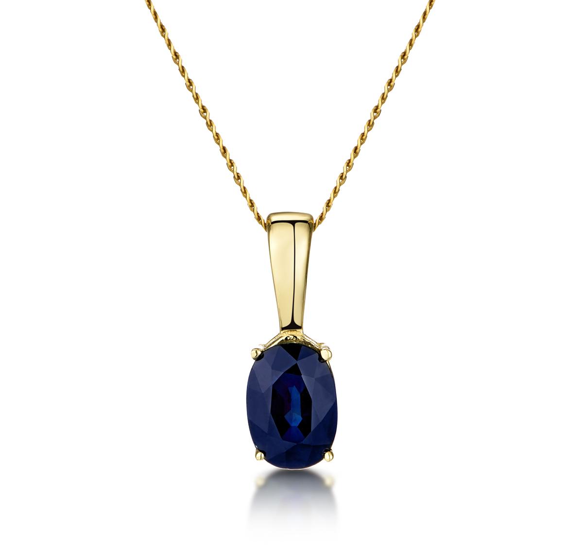 Sapphire 7 x 5 mm 9K Yellow Gold Pendant