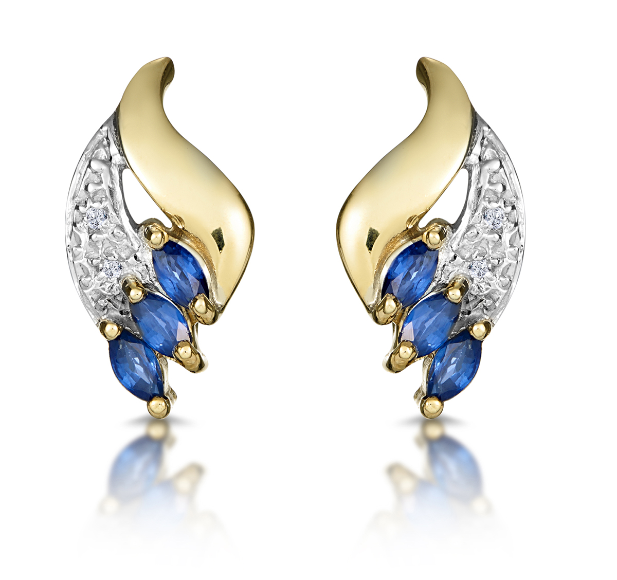 SAPPHIRE 4MM X 2MM AND DIAMOND 9K YELLOW GOLD EARRINGS