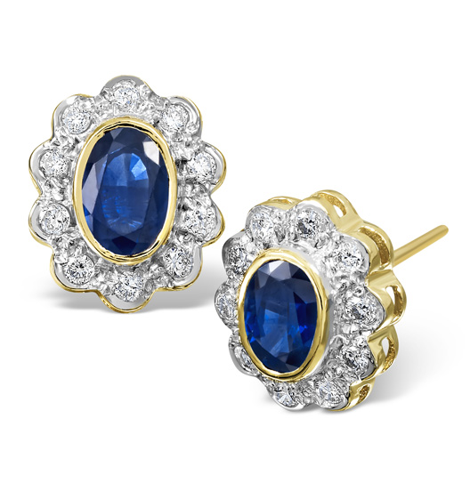 SAPPHIRE 6MM X 4MM AND DIAMOND 9K YELLOW GOLD EARRINGS