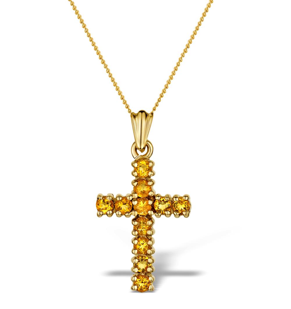 GOLDEN CITRINE 0.44CT 9K GOLD CROSS PENDANT - RTC-B3487