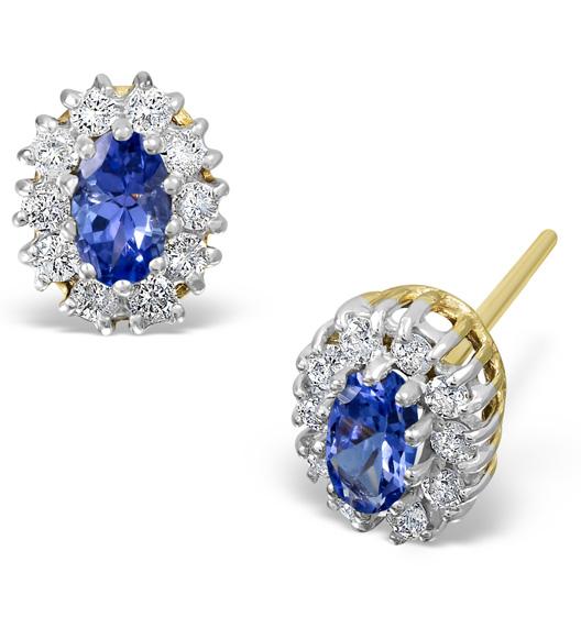 TANZANITE 5 X 3MM AND DIAMOND 9K YELLOW GOLD EARRINGS