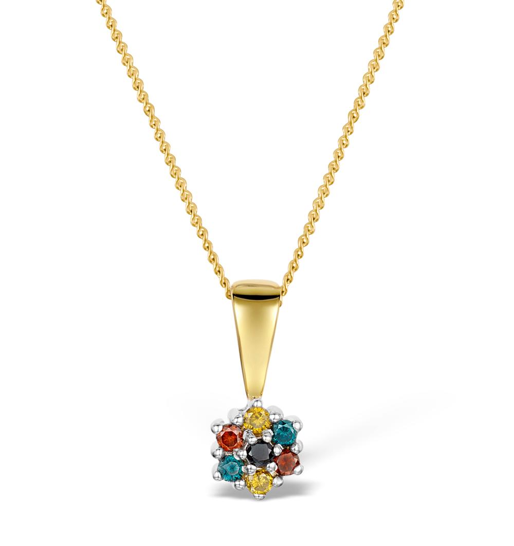 MULTI STONE DIAMOND NECKLACE IN 9K GOLD