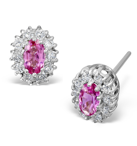 PINK SAPPHIRE 5 X 3MM AND DIAMOND 18K WHITE GOLD EARRINGS