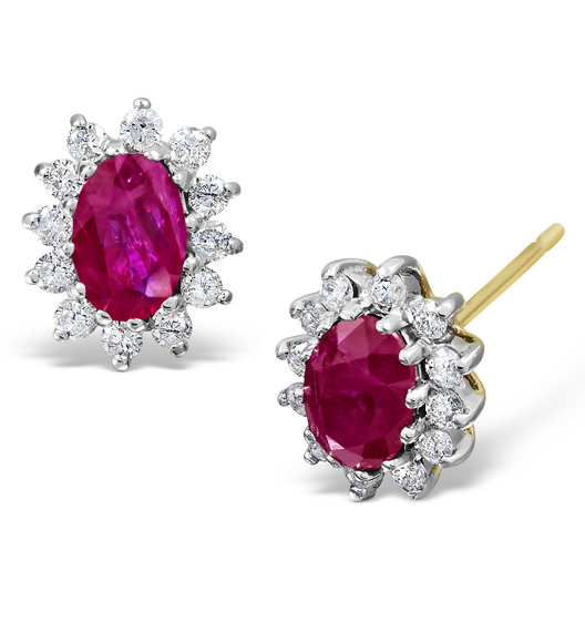 RUBY 6 X 4MM AND DIAMOND 9K YELLOW GOLD EARRINGS