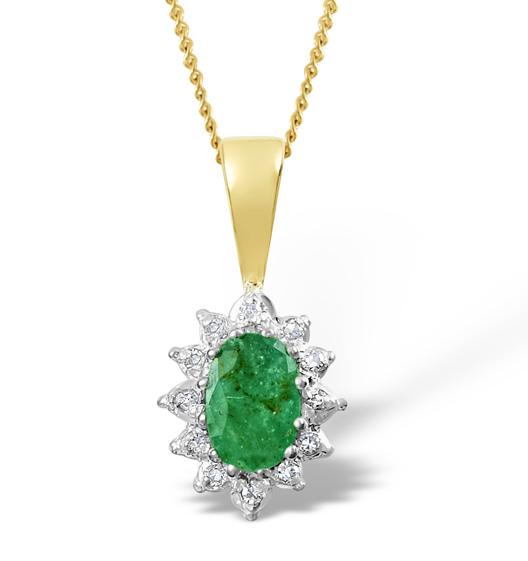 Emerald 0.43CT And Diamond 9K Yellow Gold Pendant