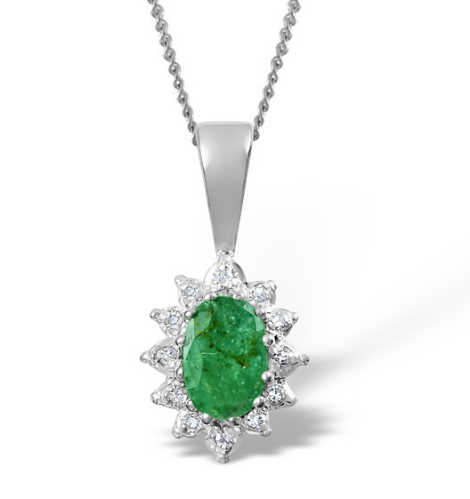 EMERALD 6 X 4MM AND DIAMOND 18K WHITE GOLD PENDANT