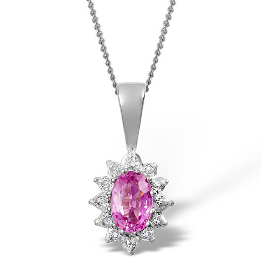 Pink Sapphire 6 x 4mm And Diamond 18K White Gold Pendant