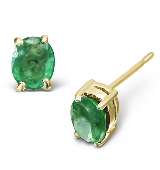 Emerald 5 x 4mm 18K Yellow Gold Earrings