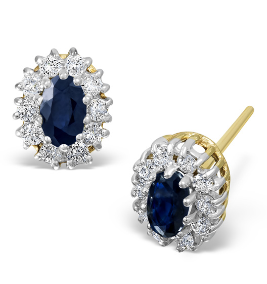 Sapphire 5mm x 3mm And Diamond 18K Yellow Gold Earrings