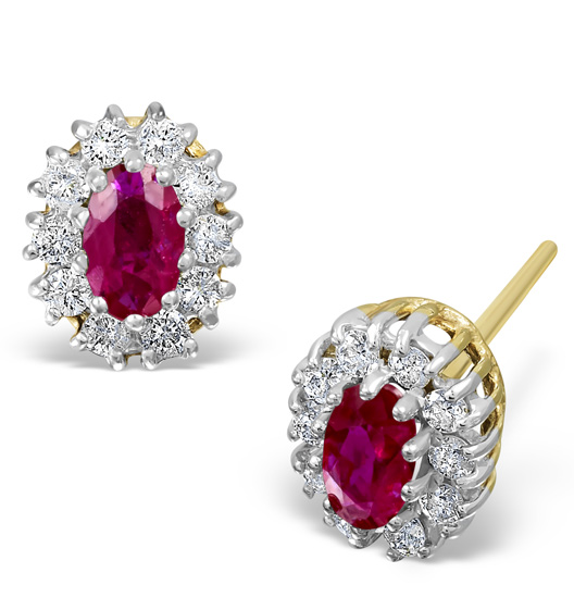 RUBY 0.32CT AND DIAMOND 9K YELLOW GOLD EARRINGS