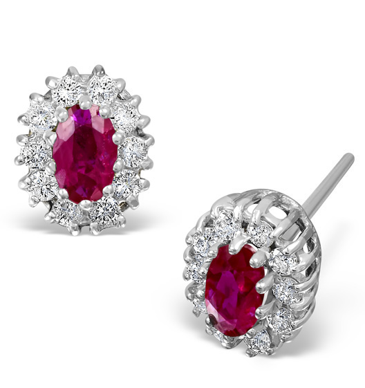 RUBY 5 X 3MM AND DIAMOND 18K WHITE GOLD EARRINGS