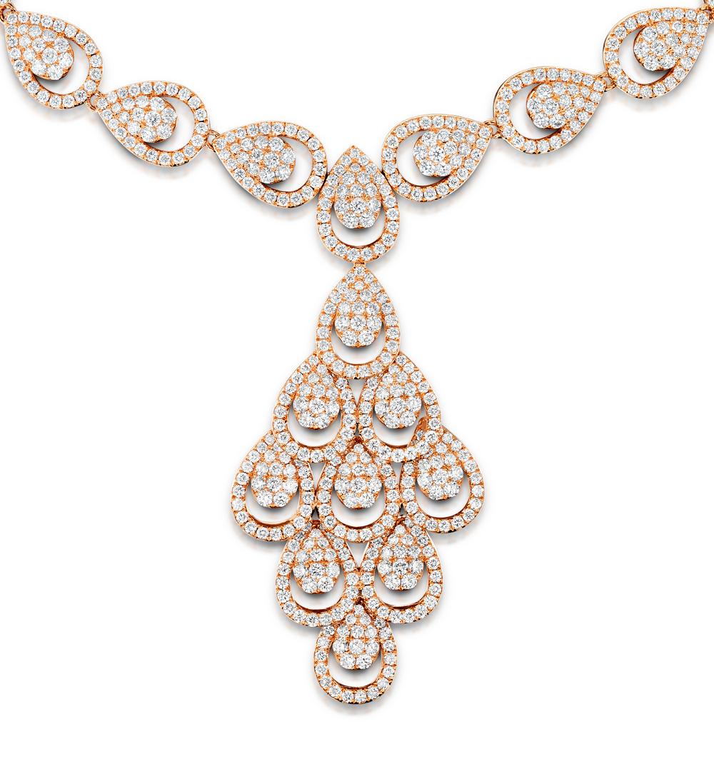 DIAMOND NECKLACE PYRUS CHANDELIER 12.60CT H/SI DIAMONDS 18K ROSE GOLD