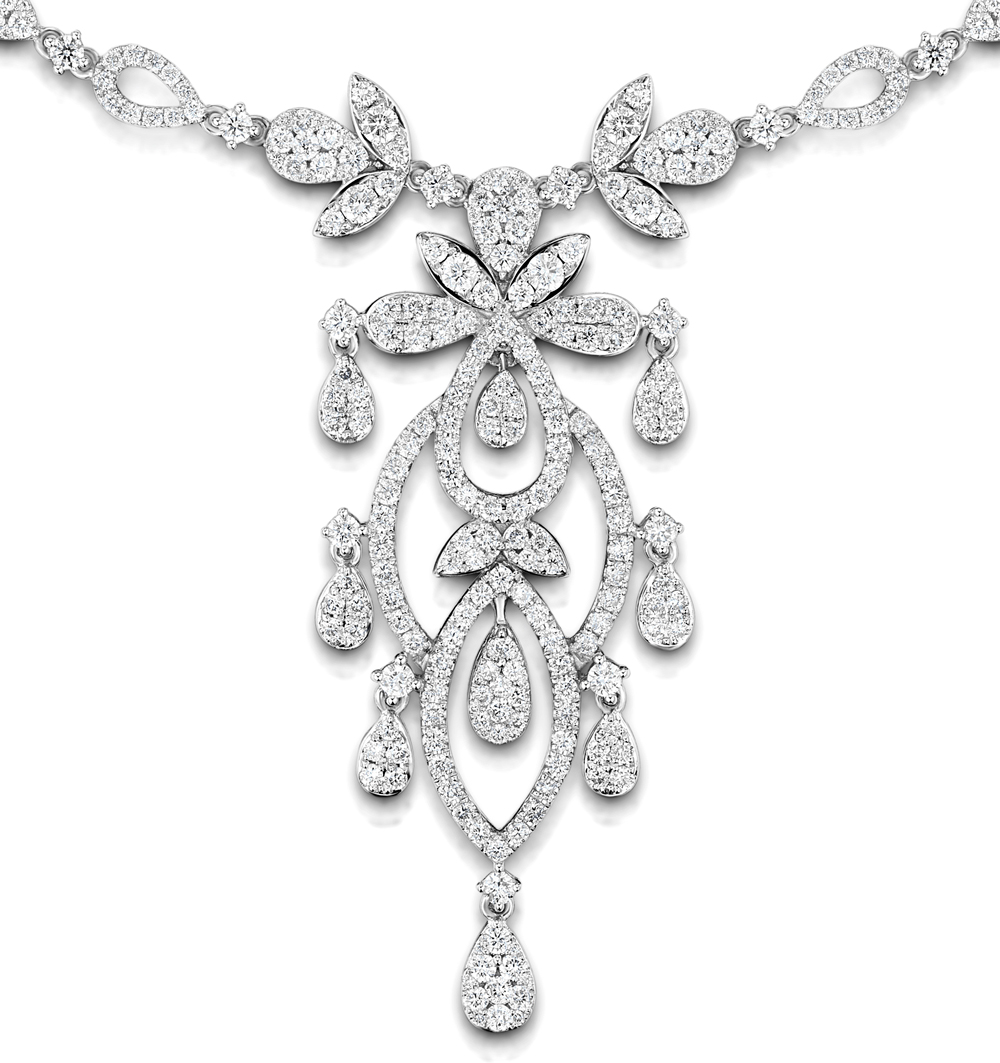 Diamond Necklace Vintage Pyrus 9.00ct H/Si Diamonds in 18K White Gold