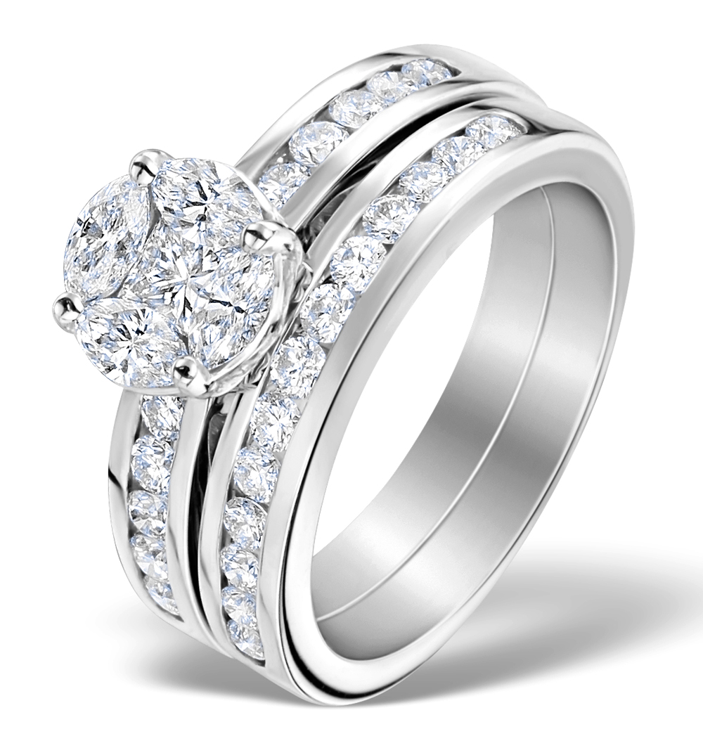 Platinum Wedding Ring: Matching Diamond Engagement And Wedding Ring 1.46ct